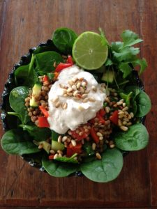 Lentil salad with yogurt dressing